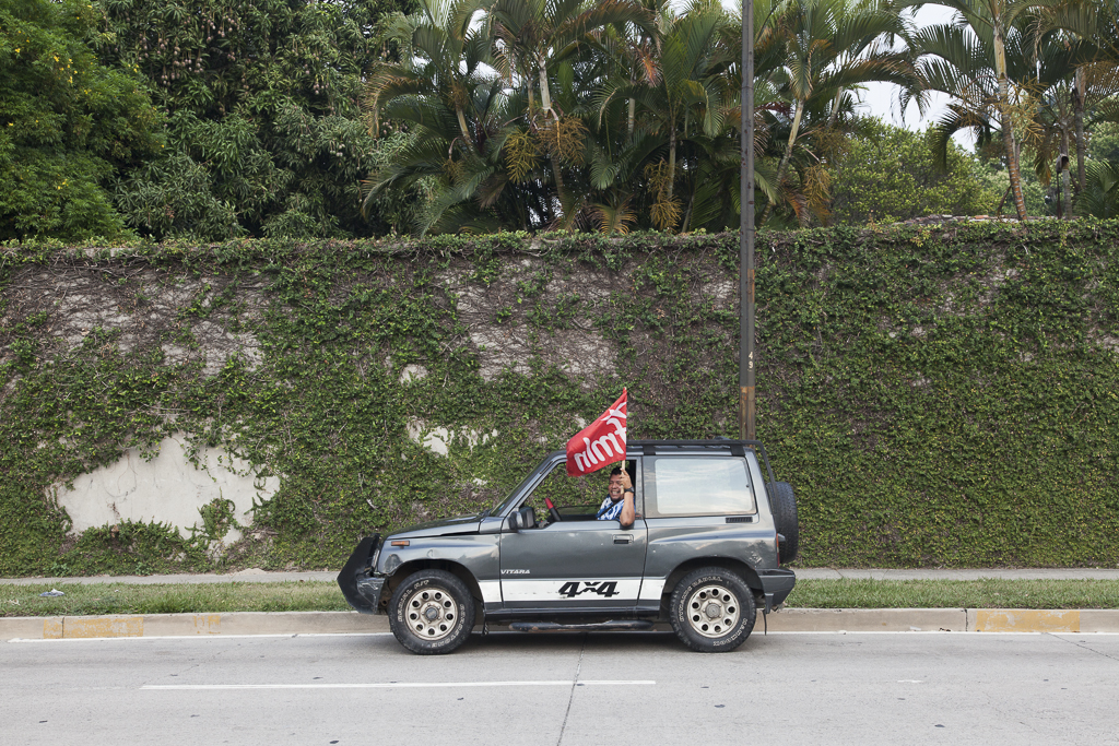 A follower of the FMLN, the leftist party which won again the presidential elections in the country. San Salvador. El Salvador.