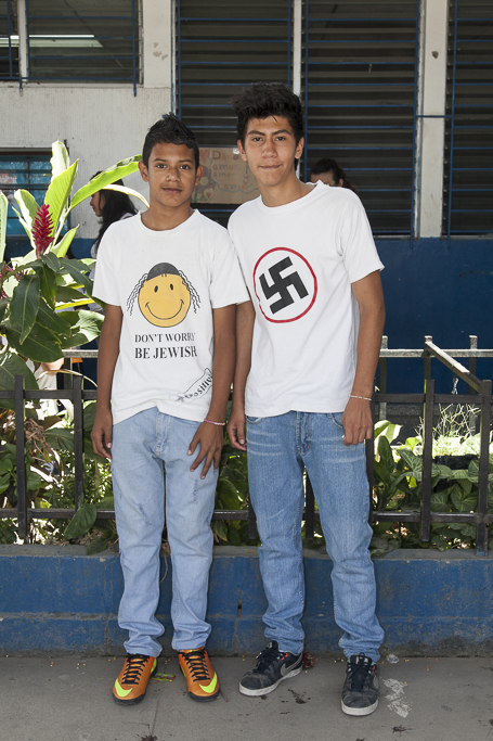 San Salvador teenagers. Actually they dont know about the meaning of their t shirts, it´s just about be cool. Public school of San Antonio. San Salvador.