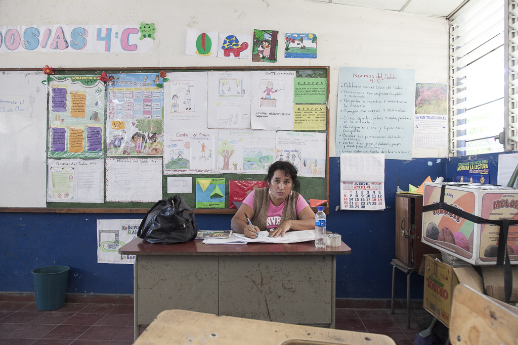 A teacher at the class. San Antonio. San Salvador. El Salvador
