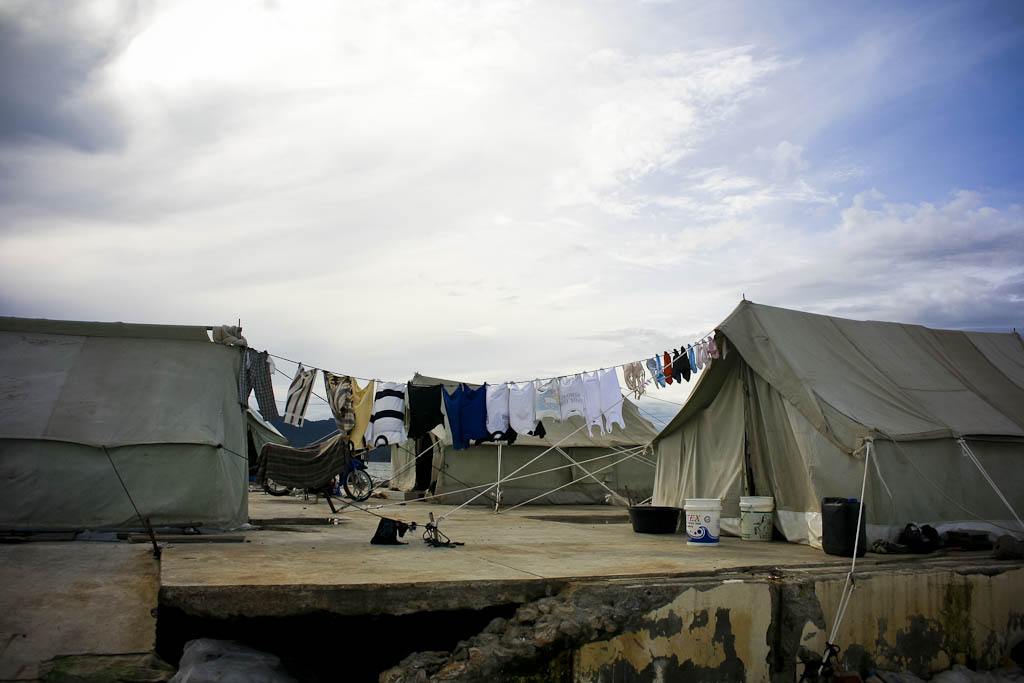 People who lost their houses living in UN program tents ten months after tsunami. One year after 2004 December 26 tsunami reportage. Banda Aceh, Aceh province, Sumatra, Indonesia.